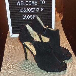 Nine West suede peep toe booties sz 7